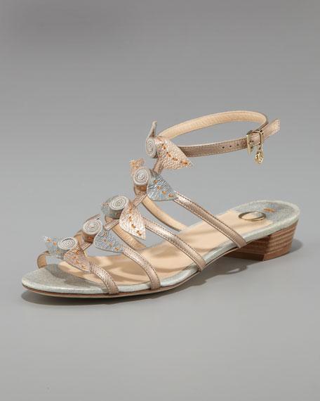Rosette-Detail Flat Sandal