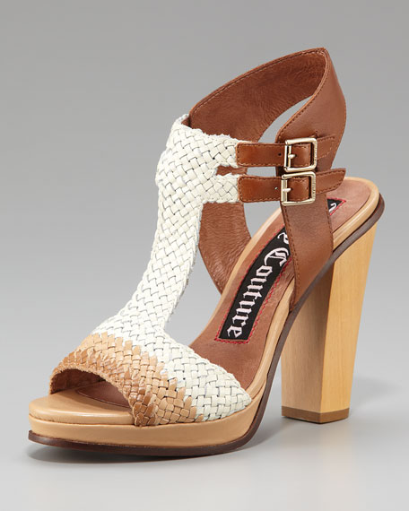 Crista Tri-Tone Woven Leather Sandal