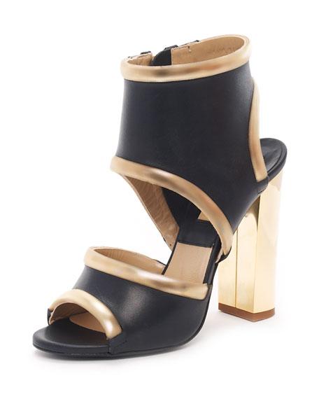 Cutout Sandal, Nero
