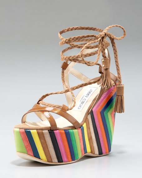 Pearl Striped-Wedge Lace-Up Sandal