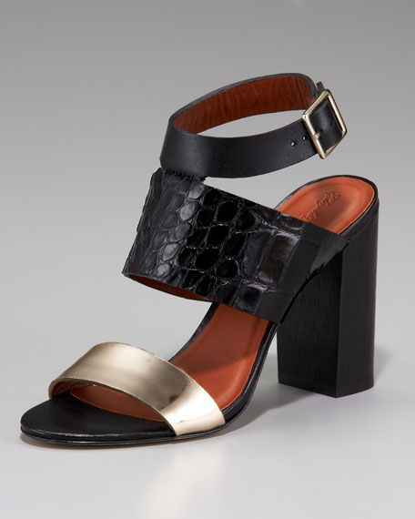 Colorblock Chunky-Heel Sandal