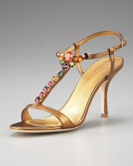 Jeweled Metallic Leather Sandal