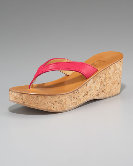 Cork-Wedge Thong Sandal