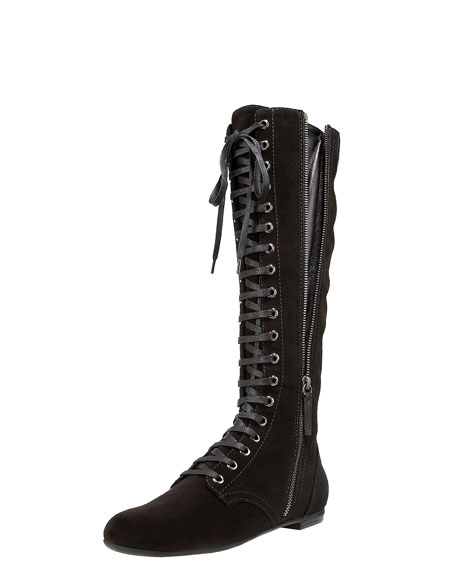 Lace-Up Side-Zip Boot, Suede