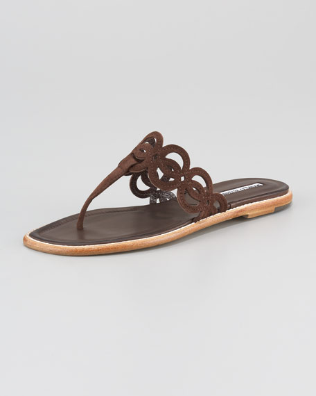 Pizcol Cutout Suede Thong Sandal