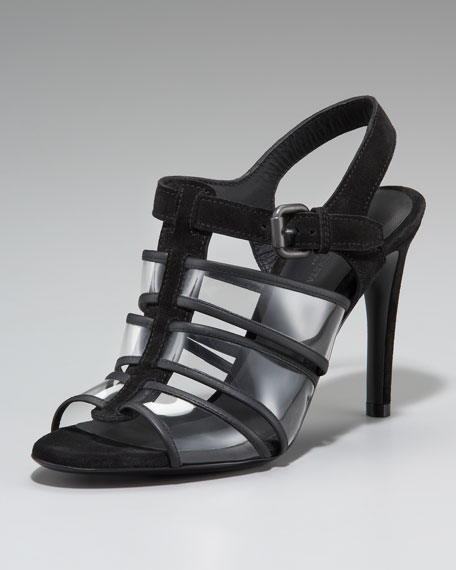 Suede & PVC Strappy Sandal