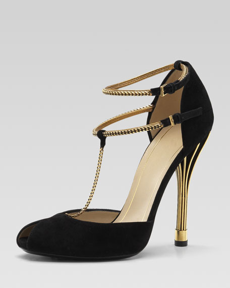 Ophelie Two-Tone Open-Toe Pump, Black or Light Powder