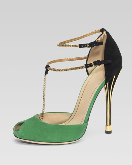Ophelie Two-Tone Open-Toe Pump, Green/Black