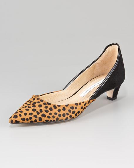 Diane von Furstenberg Alice Leopard-Print d&39Orsay Kitten-Heel Pump