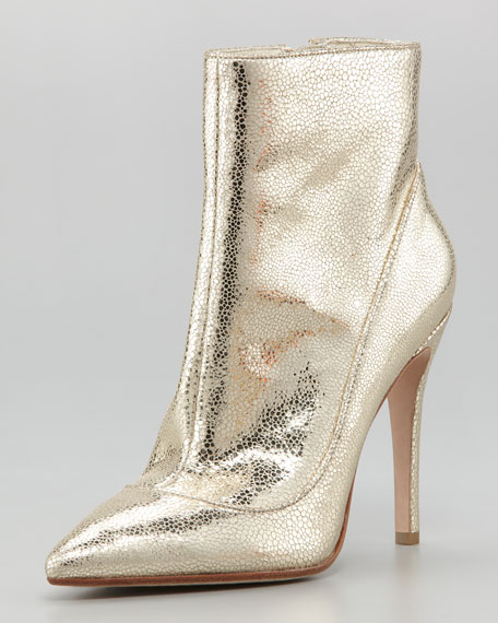 Doris Pointed-Toe Metallic Bootie