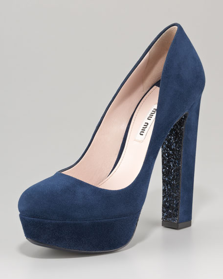 Glitter-Sole Suede Pump