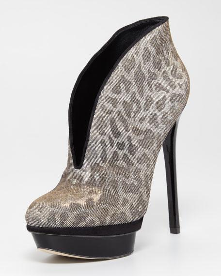 Fortusa Metallic Leopard Bootie