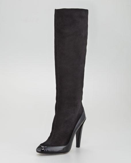 Patent-Trim Suede Boot