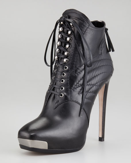 Lace-Up Metal-Toe Bootie