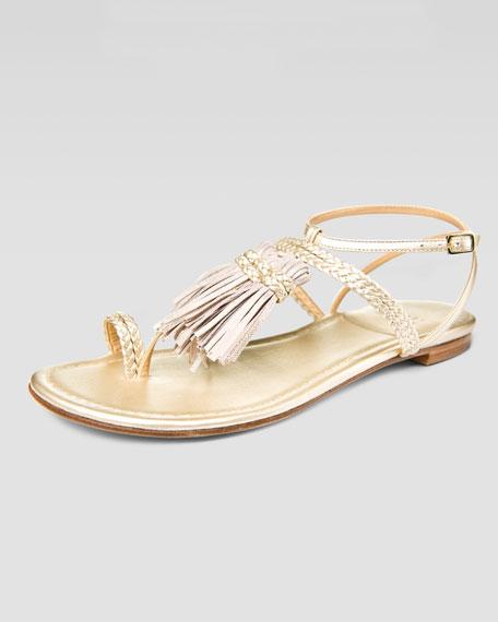 Tassel Strap Sandal, Golden