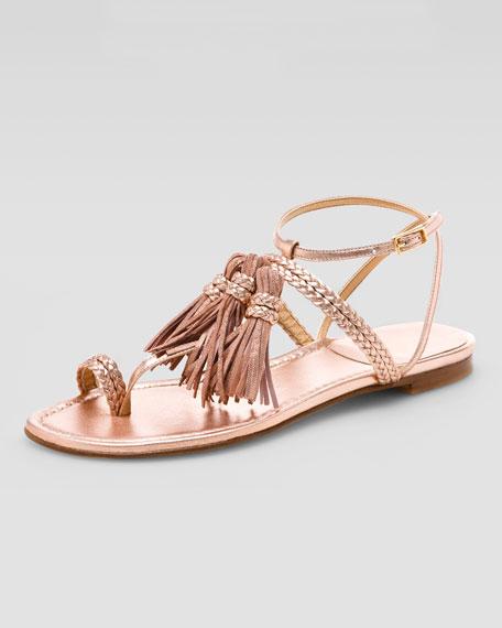 Tassel Strap Sandal, Pink Gold