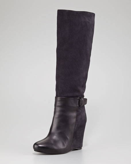 Greta Suede and Leather Wedge Boot