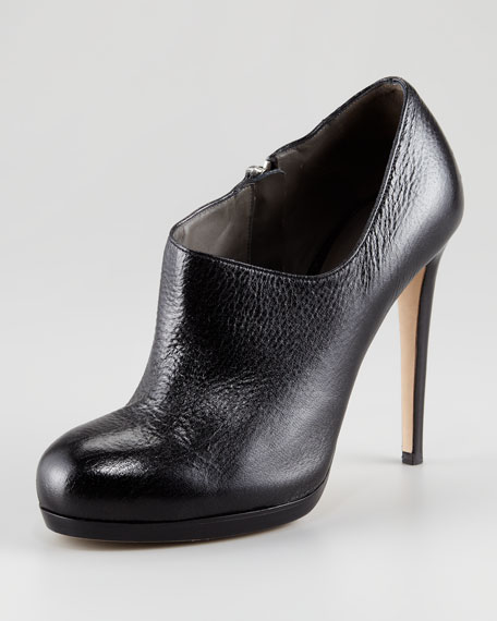 Leather Scoop-Neck Bootie