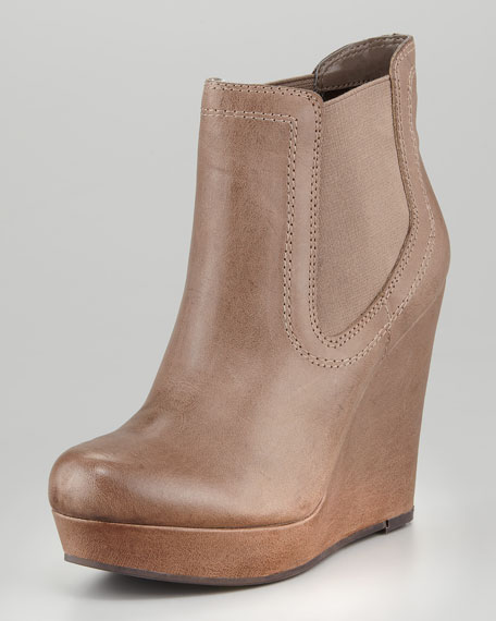 Prime Suspect Leather Covered-Wedge Ankle Boot, Brown