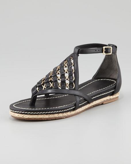Espadrille Flat Sandal, Black