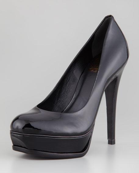 Titiana Platform Peep-Toe Pump, Black