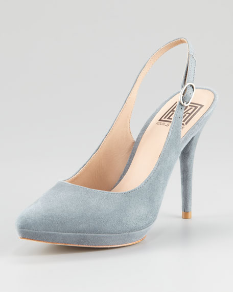 Divina Suede Pointed-Toe Slingback, Powder Gray