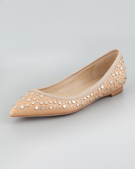 Ara Studded Pointed-Toe Skimmer Flat, Natural