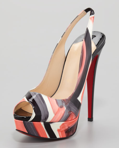 Lady Peep Painted Slingback Red Sole Pump