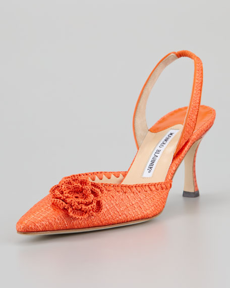 Musaslifac Raffia Halter Pump, Orange