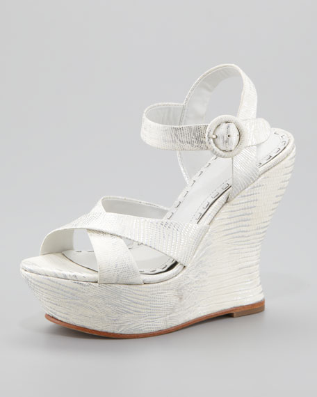 Juliet Snake-Embossed Wedge Sandal