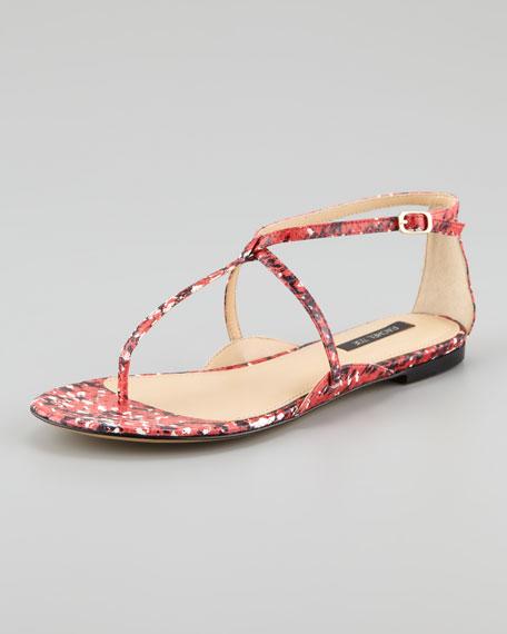 Gwen Snakeskin Flat Sandal, Pink/Black