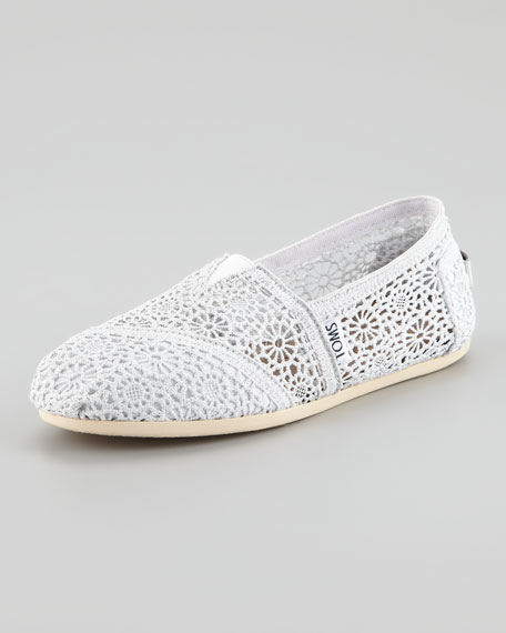 Metallic Crochet Slip-On, White/Silver