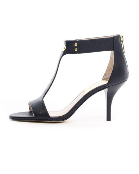 Saffiano T-Strap Plate Sandal