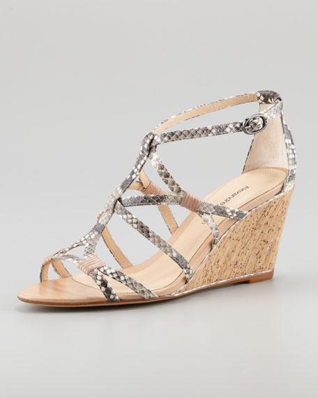 Strappy Python Wedge Sandal