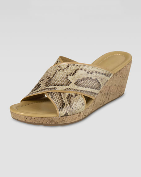 Air Britney Snake-Print Wedge Sandal, Cream