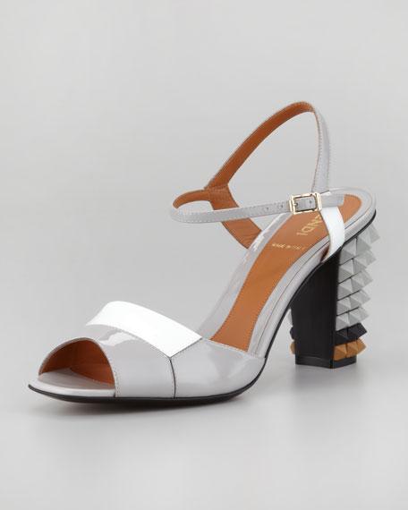 Patent Pyramid Stud-Heel Sandal