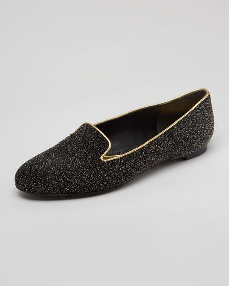 Crystalized Smoking Slipper, Black/Gold