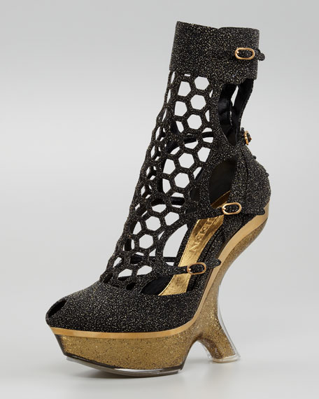 Metallic Sugar Honeycomb Wedge Boot