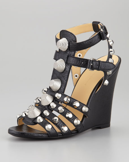 Giant Nickel Studded T-Strap Wedge