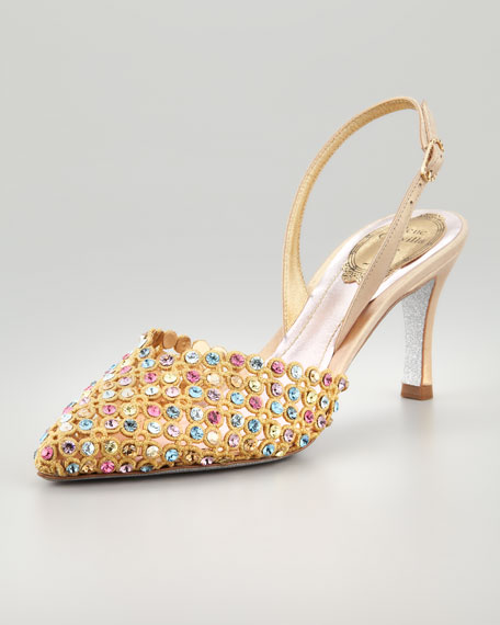 Embroidered Crystal Slingback