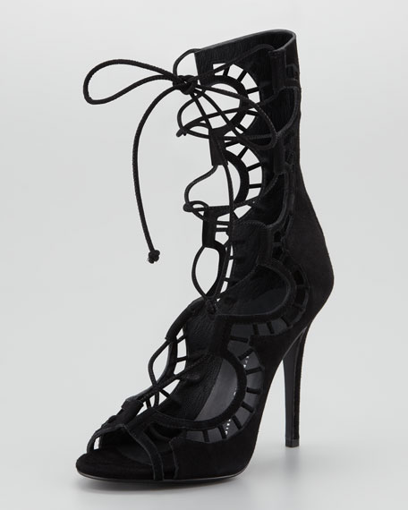 Giuseppe Zanotti Lace-Up Suede Gladiator High-Heel Sandal, Black
