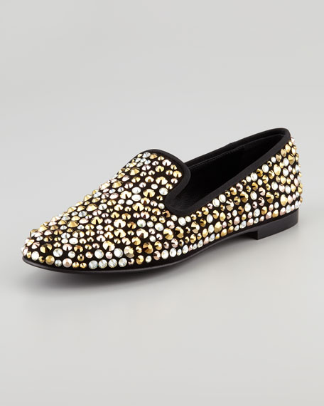 Multi Crystal-Covered Smoking Slipper, Nero
