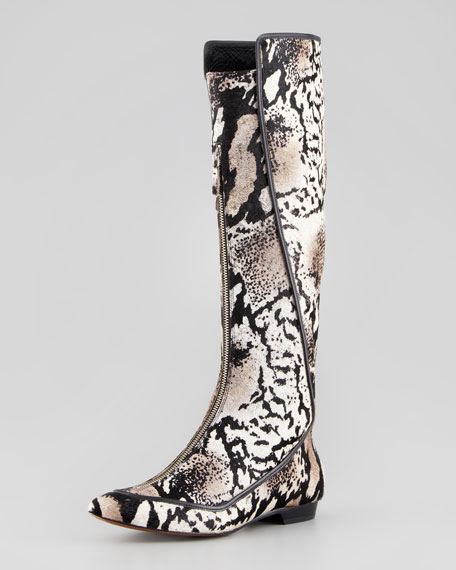Aimee Printed Calf Hair Boot, Cream/Multicolor