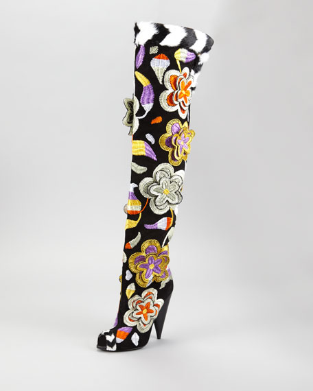 2D Floral Embroidered Over-the-Knee Boot