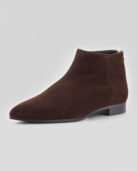 Suede Point-Toe Flat Ankle Boot, Brown