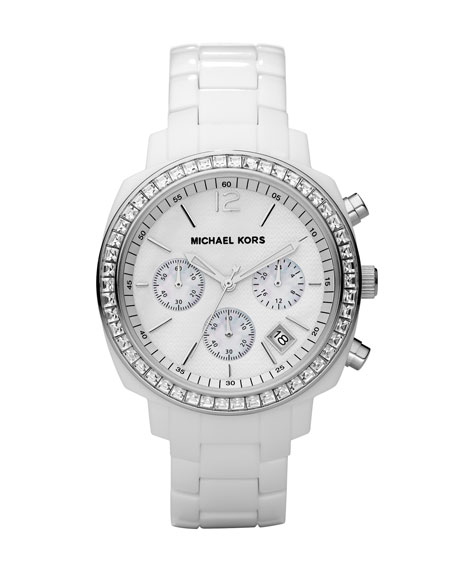 White Midsized Acrylic Watch with Glitz