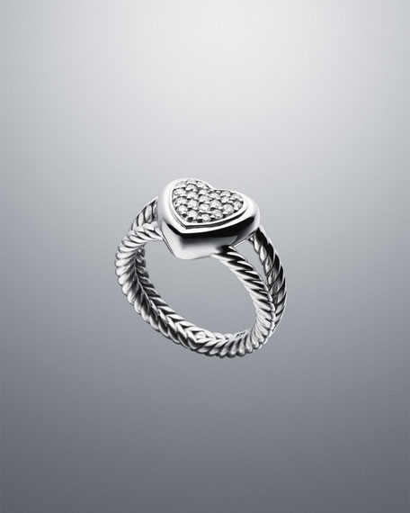 Cable Heart Ring with Diamonds