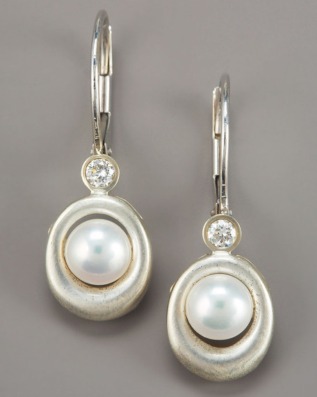 OVAL PEARL & DIAM EARRINGS