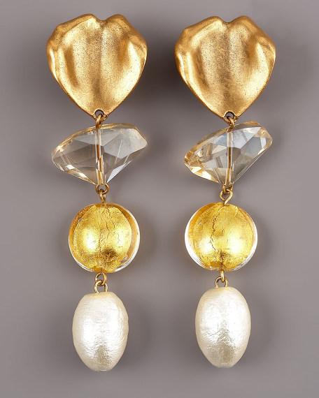 Foiled Crystal Leaf Earrings