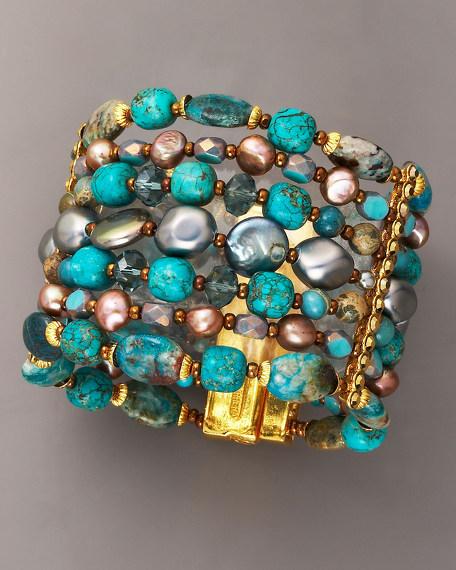 Seven-Strand Turquoise & Pearl Bracelet